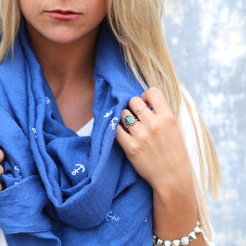 Blue + Anchors Scarf