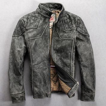 vintage leather motorcycle jacket men gray slim fitted mandarin collar fashion leather jacket men slim biker jacket coat for men