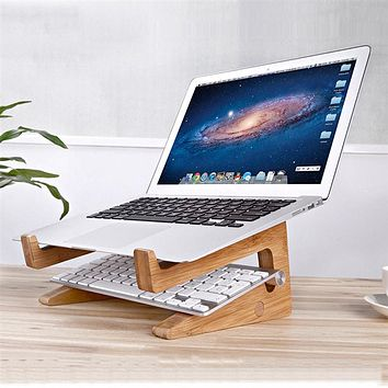 Portable Bamboo Wooden Laptop & Tablet Stand