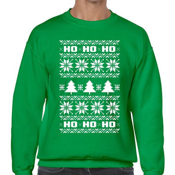 HO HO HO Men's Crewneck Sweatshirt Ugly Christmas Sweater