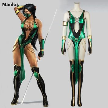 Mortal Kombat X Cosplay Jade Kitana Costume Clothing Game Superhero Mask Suit Adult Women Halloween Christmas Custom Made Party
