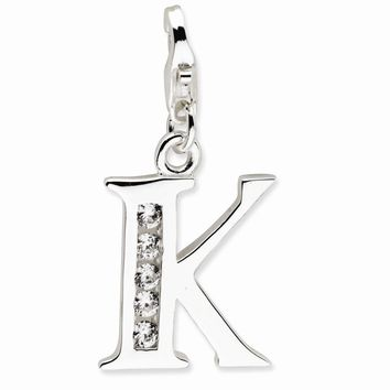 Sterling Silver CZ Letter K w/Lobster Claw Clasp Charm