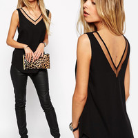 'The Malika' Sheer Mesh Panel Chiffon Tank Top