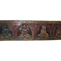 Indian Headboard Panel Four Forms of Meditating Buddha Wall Sculpture Panel