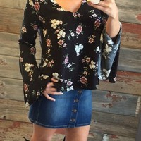A Day with the Girls Floral Top: Black