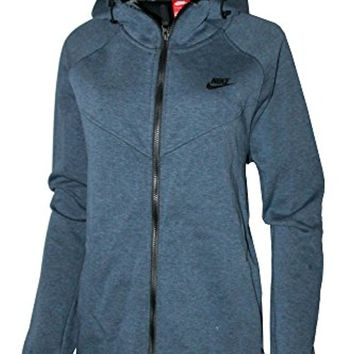 Nike Women's Plus Size Full-Zip Sportswear Tech Fleece Hoodie Squadron Blue Heather Black
