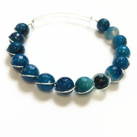 Blue Agate Wire Bracelet Blue Agate Beaded Bracelet Blue Agate Expandable Wire Bangle Dark Blue Agate Gemstone Stacking Wire Bangle (MBX180)