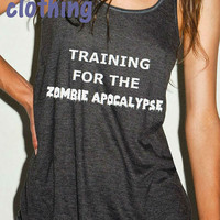 TRAINING for the ZOMBIE apocalypse running  tank top racerback A loose Fitting Feminine Racerback soft jersey material  Ladies Tank Top.