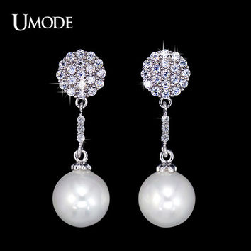 UMODE Popular Woman Long Vintage Bohemian Cluster Drop Earrings for Wedding & Party with CZ Stones and Simulated Pearl UE0120