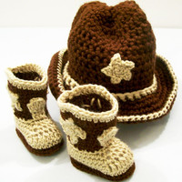 Western Hat and Boots -Baby Cowboy Gift Set--Baby Shower Gift  -Brown with Tan