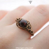 Gothic Ring, wire wrapped ring, wire wrapped jewelry handmade, victorian style, red garnet ring, unique rings, size US 6.25