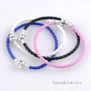 7 Colors 18cm silver plated leather Chain Fits European woman Bracelet Jewelry Making Supplies 5Pcs YKL0437-18