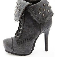 STUDDED FOLD-OVER CUFF HEEL BOOTIE
