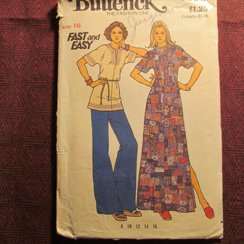 Sale Uncut 1970's Butterick Sewing Pattern, 3590! Size 16 Large/Women's/Misses/Short Sleeve Caftan Dress/Kimono Sleeve Tops/Shirts/Aline Caf