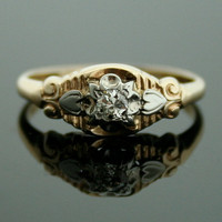 Antique Diamond Ring - Two Tone Diamond Ring 1930s