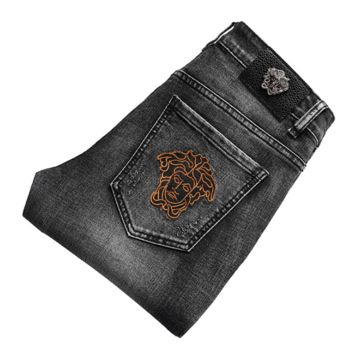 Vintage Black Gray VERSACE Fashion Men Denim Pants Jeans