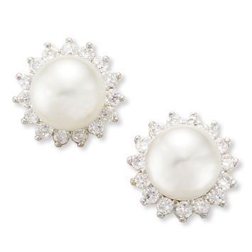 Simulated Pearl and Cubic Zirconia Cluster Earrings
