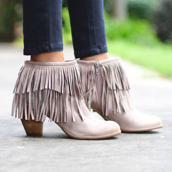 Not Rated: Auriga Fringe + Chain Suede Booties {Taupe}