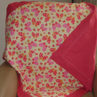 Reversible Receiving Blanket, Large Double Layer Baby Blanket, Butterflies and Polka Dot Swaddle Blanket From FabriArts