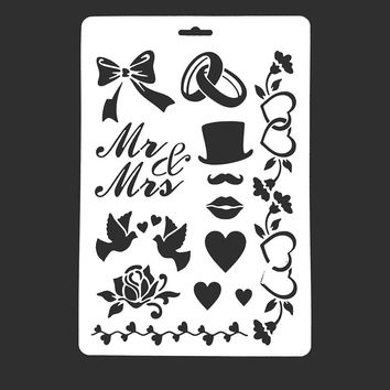 Wedding Decoration Scrapbook Stamp DIY Tools Photo Album Card Masking Spray Stencil For Walls Painting Embossing Paper Crafts
