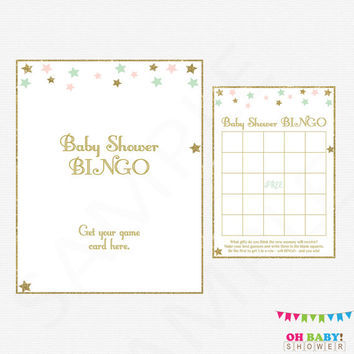 Twinkle Twinkle Little Star Baby Shower BINGO, Pink Mint Gold Baby Shower Games, Baby Bingo Game, Pink Mint Gold Baby Bingo, Printable STPMG