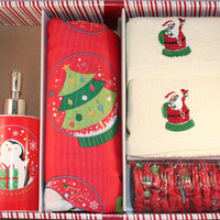 Santa's Globe 16 Piece Shower Curtain Set w/ hooks, lotion pump and 2 hand towels