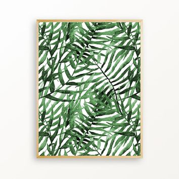 Emerald Green Palm Leaves - Matte Print