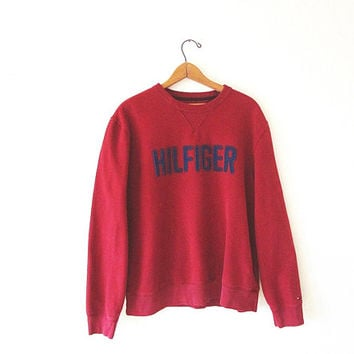 Vintage 90's Red TOMMY HILFIGER Athletic Logo Brand Sweatshirt Sz L