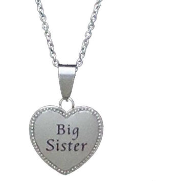 """Stainless Steel Puffy Heart Charm Necklace Big Sister - 20mm 3/4"""" Diameter"""