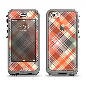 The Gray & Orange Plaid Layered Pattern V5 Apple iPhone 5c LifeProof Nuud Case Skin Set