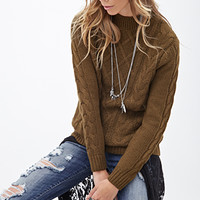 FOREVER 21 Cable Knit Crew Neck Sweater