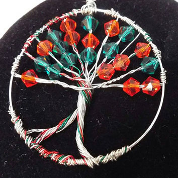 Tree of Life, Christmas Red, Green, Silver Wire Wrapped Pendant / Charm, Handmade Swarovski Crystal Ruby / July or Emerald / May Birthstone