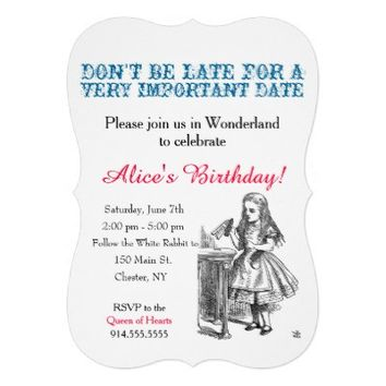 Alice in Wonderland birthday party custom vintage Personalized Invitations from Zazzle.com
