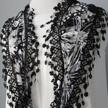 Bohemian Lace Fringe Scarf - Black and White Floral Motif - Semi Sheer Lightweight Fabric -Trendy Scarf- Women Gift Idea