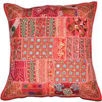 20x 20 Red Decorative Throw Pillow Vintage Ethnic Patchwork Cushion cover Indian Outdoor Sofa Pillow Ethnic Gypsy Couch Floor Throw Pillow