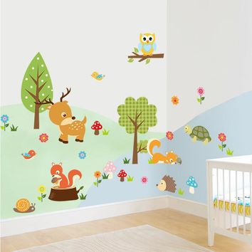 Cartoon Safari Adventure Decorative Wall Stickers For Kids Rooms Decor Crazy Jungle Animals Nursery Wall Decals Pvc Mural Art