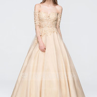 [ 155.49] Ball-Gown Off-the-Shoulder Floor-Length Organza Prom Dress With Beading Sequins (018093801)