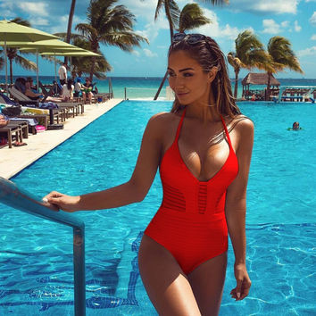 Womens Sexy Deep V Neck Low Cut Halter Gauze See Through Solid Color One Piece Swimsuit Bathing Suit Swimwear Beach Bodysuit