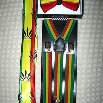 Rasta Stripes Bow Tie,Rasta Marijuana Leaves NeckTie&Rasta Stripes Suspenders