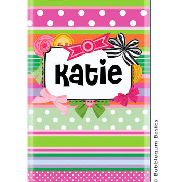 CUSTOM iPhone 5 4s 4 Samsung Galaxy s3 siii Phone Case - Multi Color Bow Ribbon Name Plate - 3 Letter Initials - Monogram Personalized