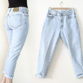 8ce53d860a68 Vintage 80s 90s High Waisted Calvin Klein CK Jeans - Women's Light Rinse  High Rise Cur