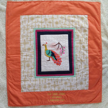 BABY QUILT - For this child I prayed - Blessing scripture quilt - Girl peacock blanket - Ready to ship