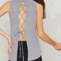 Ad Ribbing Sleeveless Top - Navy