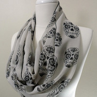 Skull Head Chiffon Infinity scarf, Circle scarf, Loop scarf, Heart Scarves, Tube Scarf, Shawls, spring - fall - winter - summer fashion
