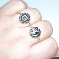 Reversible Moon Sun Ring 2 simple rings in by CrystalShipCreations