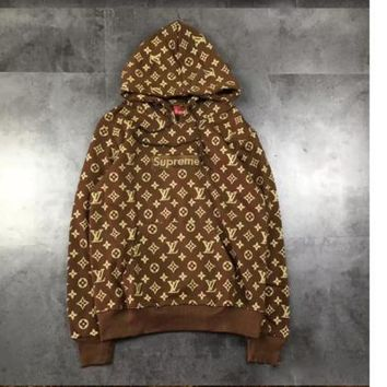 LV Tide brand autumn new men and women lovers casual hooded street full body printing sweater