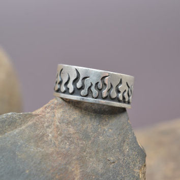 Sterling Silver Flame Fire Band Ring