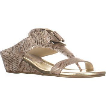 Donald J Pliner Daun T-Strap Wedge Sandals, Platino, 5.5 US