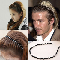 NEW 1PC Mens Women Unisex Black Wavy Hair Accessories Head Hoop Band Sport Headband Hairband Hairpins Styling Tools na471