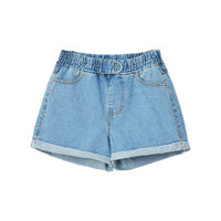 Rivets Embellished Denim Shorts with Rolled Cuffs